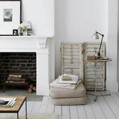 Brick in Fireplace, old antique shutters, white floorboards Painted Floorboards, White Floorboards, Painted Floors, Painted Wood, Living At Home, Living Spaces, Living Room, My French Country Home, Country Style