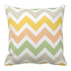 Peach Green Yellow White Zigzag Chevron Pattern Throw Pillow