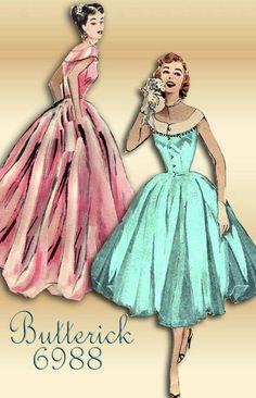 1950s Sewing Pattern Butterick 6988 Gorgeous by FloradoraPresents, $55.00