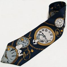 VINTAGE SNOOPY RIGHT ON TIME POCKET WATCH CLOCK WOODSTOCK NOVELTY MEN'S NECK TIE SILK
