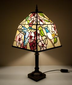 "Stained glass lamp ""Heaven's Birds""."