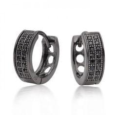 925 Silver Black Rhodium Mens Micro Pave CZ Huggie Earrings