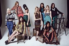 standing, from left: Olympia Scarry, Victoria Traina, Chloe Sevigny, Lauren Santo Domingo, Jen Brill, Julia Nobis, and Vanessa Traina. seated, From left: Meghan Collison and liya kebede. All wear Proenza Schouler