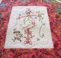 quilting around embroidery