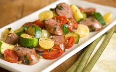Sweet Italian Sausage with Zucchini and Tomatoes - this quick saute is getting rave reviews. For Phase 1 (saute in broth or water) and Phase 3.