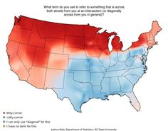 Map of American Accents - ..what? there's a word for this? ....diagonal???