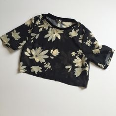 Sheer Crop Top Black sheer crop top with light floral print. Only worn once. Other Tops Crop Tops