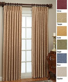 Thermal Damask Pinch Pleated 84-inch Panel Pair | Overstock.com Shopping - Great Deals on Curtains