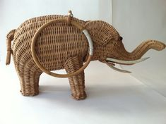 Rare 1950s Wicker Figural Elephant Purse by MarthetteVintage
