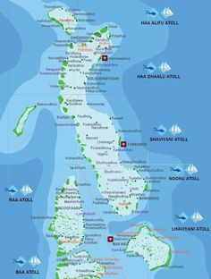 This Map of Maldives includes all resorts, airports, local islands and desert islands. The Maldives, a group of about 1,200 islands, separated into a series of coral atolls, is just north of the Equator in the Indian Ocean. Only 200 of the islands are inhabited.