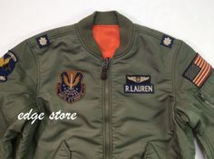 4108531f141 Details about Polo Ralph Lauren Men Military Army MA-1 USA Flag Flight  Bomber Pilot Jacket
