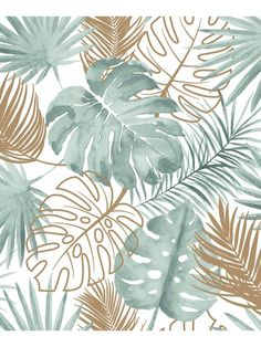 Tropical Leaves by Albany - Green : Wallpaper Direct green Tropical Leaves by Albany - Green - Wallpaper : Wallpaper Direct Tropical Wallpaper, Green Wallpaper, Pattern Wallpaper, Palm Wallpaper, Modern Wallpaper, Leaves Wallpaper Iphone, Wallpaper Backgrounds, Motif Tropical, Art Deco Posters
