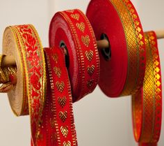 Red and Gold Indian Ribbon | Fiona Cairns Online Shop