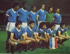 1981 France, Top, left to right: Gerard Janvion, Marius Tresor, Jean Tigana… Alain Giresse, Blue Is The Warmest Colour, Vintage Jerseys, Big Men, Football Jerseys, Warm Colors, Om, Fitness Motivation, Christian