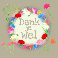 Bedankkaart in rustieke kleur met geschilderde bloemen, verkrijgbaar bij #kaartje2go voor €1,79