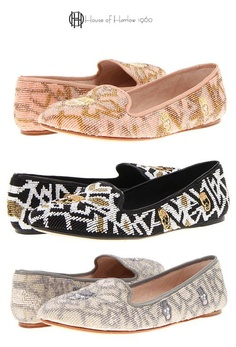 House of Harlow 1960 Zenith Flat -  designer shoe by Nicole Richie featuring a gorgeous beaded patterned upper, accented with a cool whimsical skull design these attractive flats get noticed.