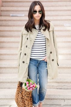 Basics like a striped shirt and casual jeans make for a perfect weekend outfit.