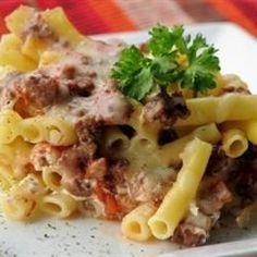 Baked Ziti IV http://allrecipes.com/recipe/baked-ziti-iv/