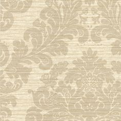 "Cortina III Anders Scrubbable and strippable Grasscloth 27' x 27"" Damask 3D Embossed Wallpaper"