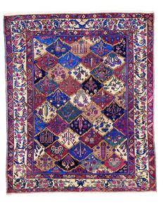This beautiful Handmade Knotted Rectangular rug is approximately 10 x 12 Semi-antique area rug from our large collection of handmade area rugs with Persian Bakhtiari style from Iran/Persia with Wool