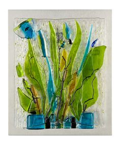"""Bluebells"" Thermofused glass on Stainless Steel, Wall Art...Sculptor Angela Verlaeckt Clark"