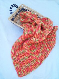 Chunky Handmade Knitting Baby Blanket in Soft  orange by ArtofBaby, $20.00