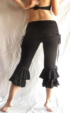 Black Lace Tribal Fusion Belly Dance Bloomers Pants