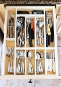DIY kitchen utensil drawer organizer.