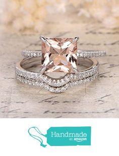 Princess Morganite Engagement Ring Trio Bridal Set Pave Diamond Wedding 14K White Gold 8mm from the Lord of Gem Rings https://www.amazon.com/dp/B01H3ZIETI/ref=hnd_sw_r_pi_dp_HrsGxb11SB7G8 #handmadeatamazon