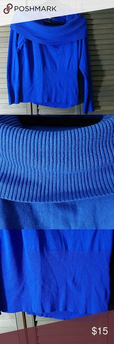 """Gorgeous Cowl Neck Sweater Gorgeous royal blue cowl neck sweater. Color may vary depending on your screen. In good used condition with no signs of wear besides pilling under both arms as seen in last pic. All measurements are approximate and taken while laying flat unstretched: Underarm to underarm - 18.5"""" Length- 23"""" Offers welcomed within reason. Let me know if you have any questions. Apt.9 Sweaters Cowl & Turtlenecks"""