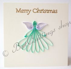 Quilling Art: Christmas Angel Cards With Sparkle Words Merry Christmas