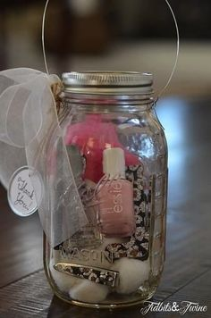 Nail Polish and File Sets In a Jar ~ Great for Valentines, Mothers Day, any time gift!
