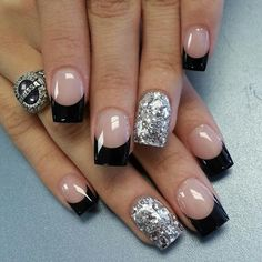 Black French nails with special feature of silver Shellac Gel, French Manicure Acrylic Nails, French Tip Nails, Gel Nail, Black French Nails, Glitter French Tips, Nail Polishes, Uv Gel, Silver Nail Designs