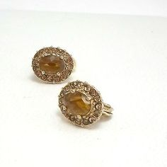 Monet-earrings-clip-on-rhinestones-yellow-circling-topaz-color-cabochon-signed