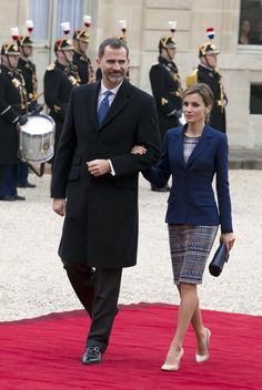 French President Francois Hollande welcomes King Felipe VI and Queen Letizia of Spain prior a meeting at the Elysee Palace on March 24, 2015, in Paris France.