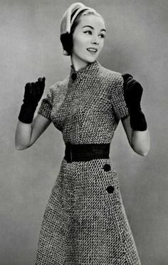 Lovely tweed dress combined of two pieces pulled together with wide black suede belt by Jacqueline Godard, 1957 Fifties Fashion, Retro Fashion, Vintage Fashion, Vintage Glamour, Vintage Beauty, Vintage Dresses, Vintage Outfits, Fashion Moda, Womens Fashion