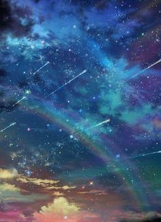 Falling stars in a rainbow sky