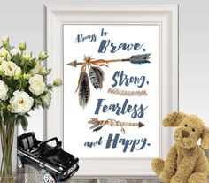 Hey, I found this really awesome Etsy listing at https://www.etsy.com/listing/228969047/be-brave-strong-fearless-nursery-print
