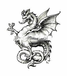"British Library digitised image from page 56 of ""Historisches Festbuch zur Basler Vereinigungsfeier, 1892 [With illustrations. British Library, Fantasy Kunst, Fantasy Art, Beautiful Dragon, Art Antique, Occult Art, Looks Vintage, Medieval Art, Gravure"