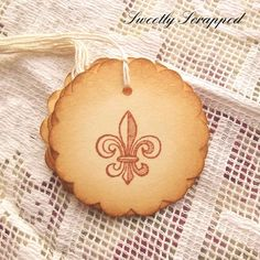Fleur De Lis Tags Scalloped Circle Brown and by SweetlyScrappedArt, $3.75