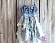 Blue sundress Boho dress Bohemian junk gypsy by TrueRebelClothing