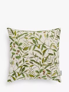 Sanderson National Trust Quercus Cushion, Pesto at John Lewis & Partners Sanderson Fabric, Shell Station, John Lewis Shops, Online Checks, Collection Services, Green Rooms, Cushion Filling, National Trust, Summer Sun