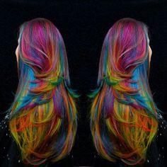 Rainbow hair today... ooh la la.