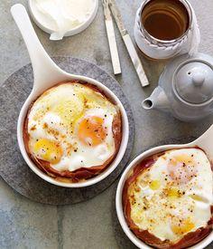 Australian Gourmet Traveller breakfast recipe for jamón and Manchego baked eggs.