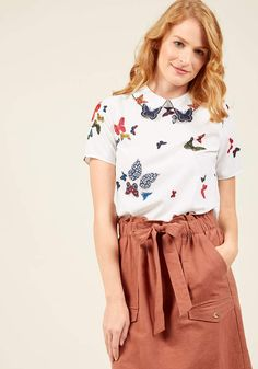 ModCloth Sincerest Form of Fluttery Top in XS - Short Sleeve Regular Waist