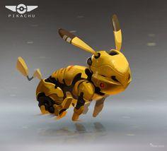 Pikachu of the Future, Mark Pancham Animal Robot, Lego Custom Minifigures, Deadpool Pikachu, Character Art, Character Design, Robot Cartoon, Arte Robot, Unique Drawings, Gundam Art