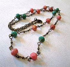 Czech fire polished rosebud bead necklace