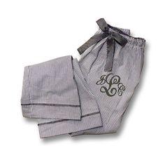 Monogrammed Seersucker Pajama Pants by MonogramsEtcNC on Etsy