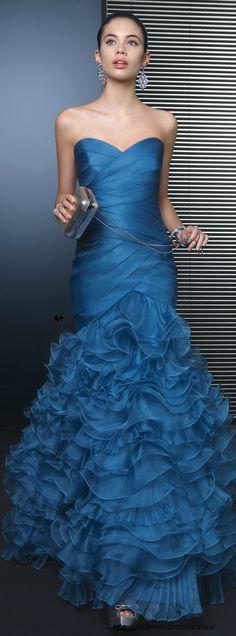 Evening gown, couture, evening dresses, formal and elegant Rosa Clara Blue Elegant Dresses, Pretty Dresses, Blue Dresses, Prom Dresses, Bridesmaid Dress, Wedding Dress, Beauty And Fashion, Blue Fashion, Fashion Women