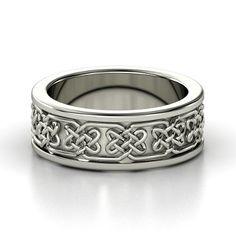 14K White Gold Ring  - Lindisfame Celtic Wedding Band | Gemvara
